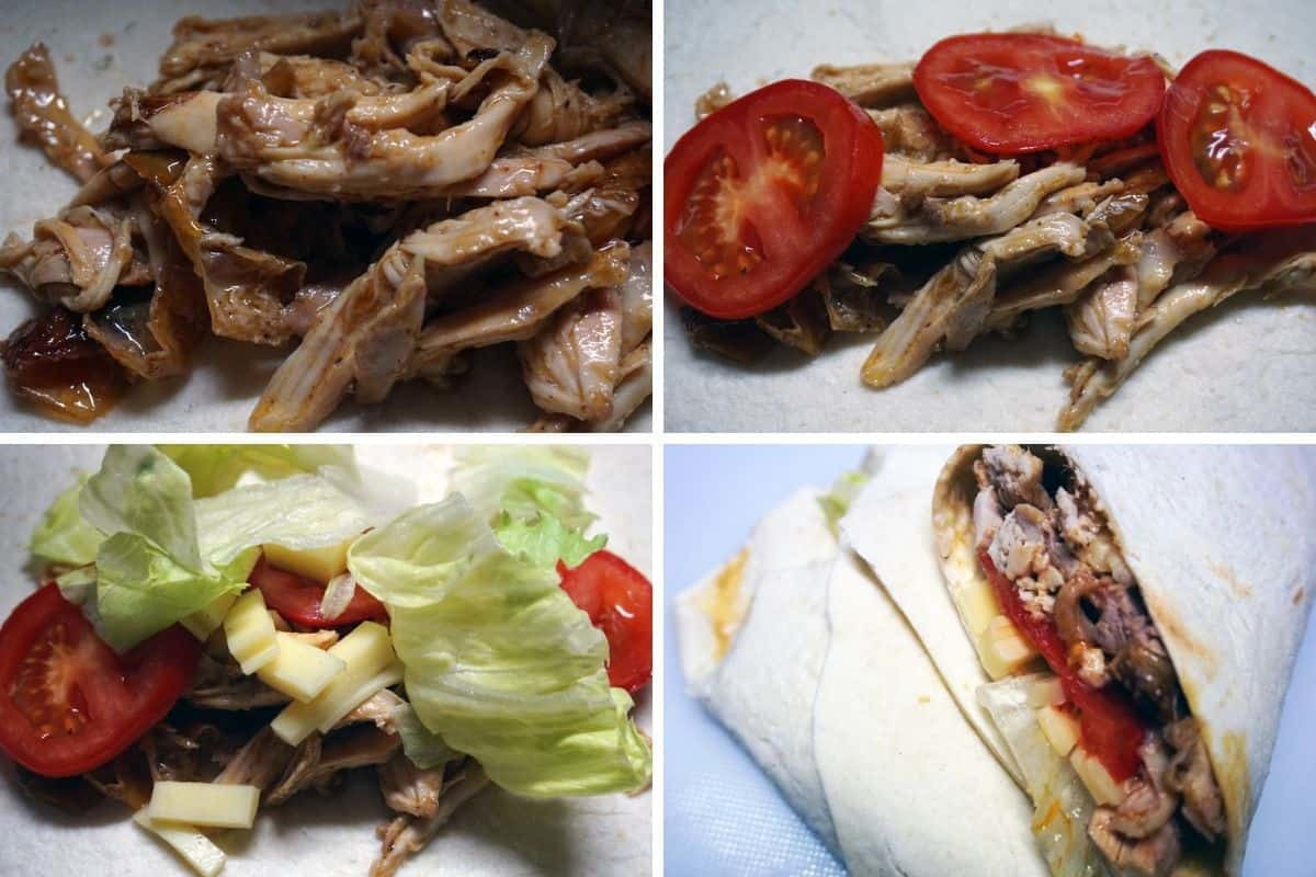 Piadina con pulled chicken