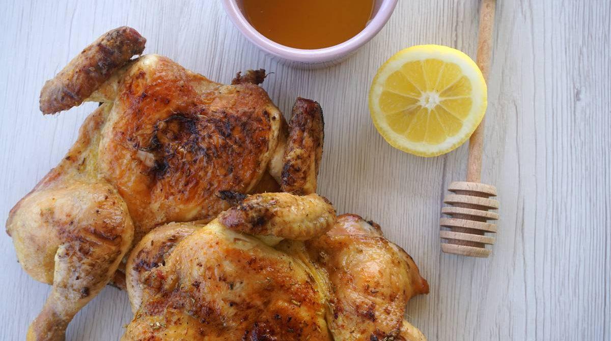Galletto alla griglia glassato miele e limone